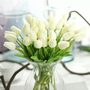 Lot 30x White RUSTIC Tulips artificial🌷flower